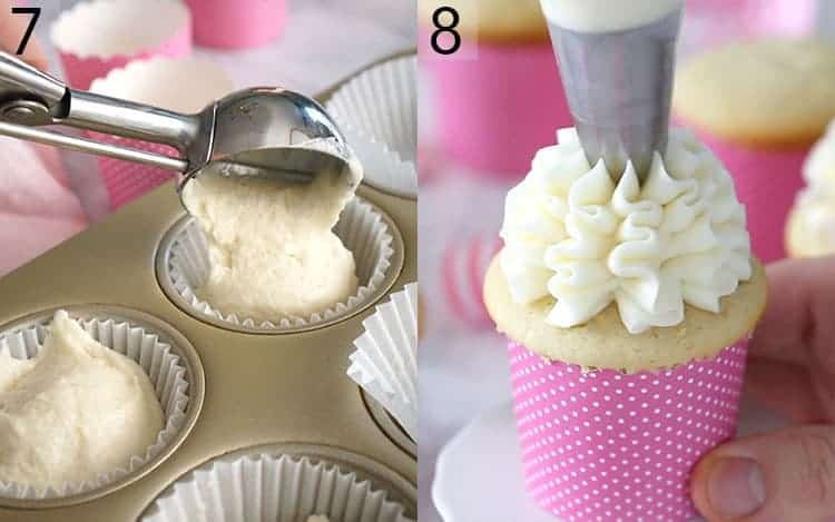 vanilla cupcake batter being transferred to papers with an ice cream scoop and the cupcakes being decorated.