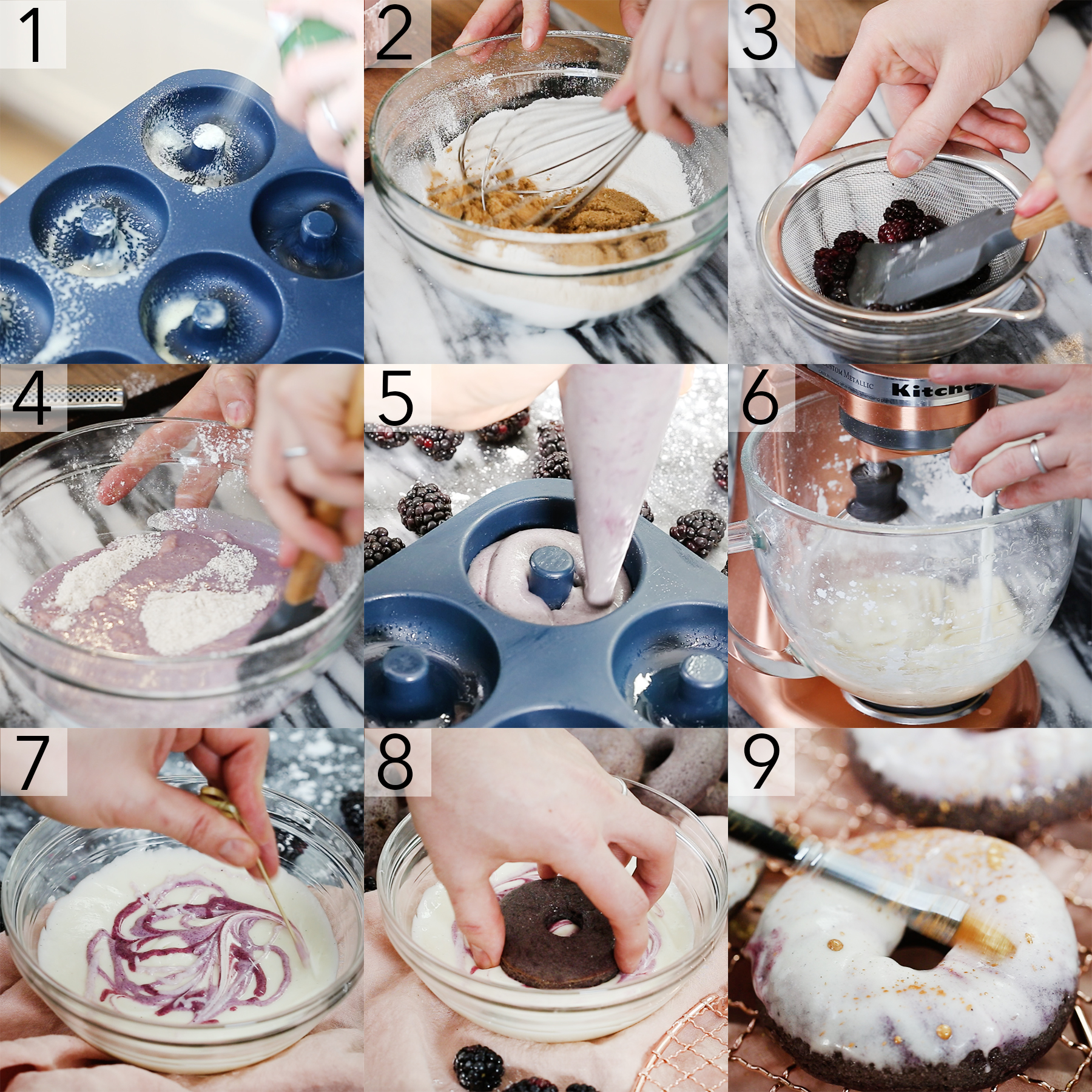 A photo collage showing the steps to make blackberry donuts