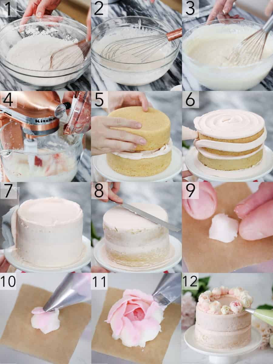A photo collage showing steps to make two Smash Cakes with buttercream flowers on top