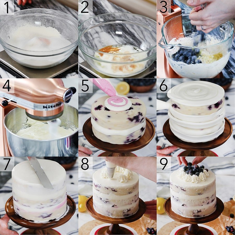 photo collage showing a Blueberry Lemon Cake being made
