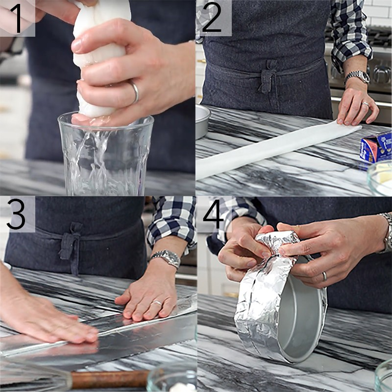 Photo collage showing how to use make strips for flat cake layers