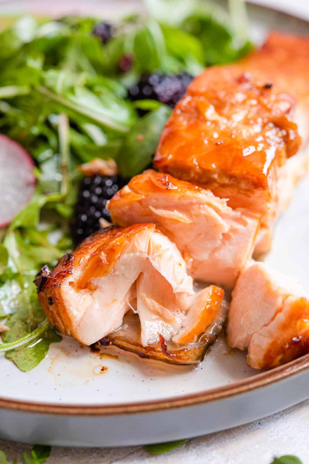 A close up of a fillet of salmon on a plate cut into with salad at the side