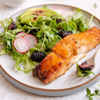 A square image on glazed salmon and salad on a plate
