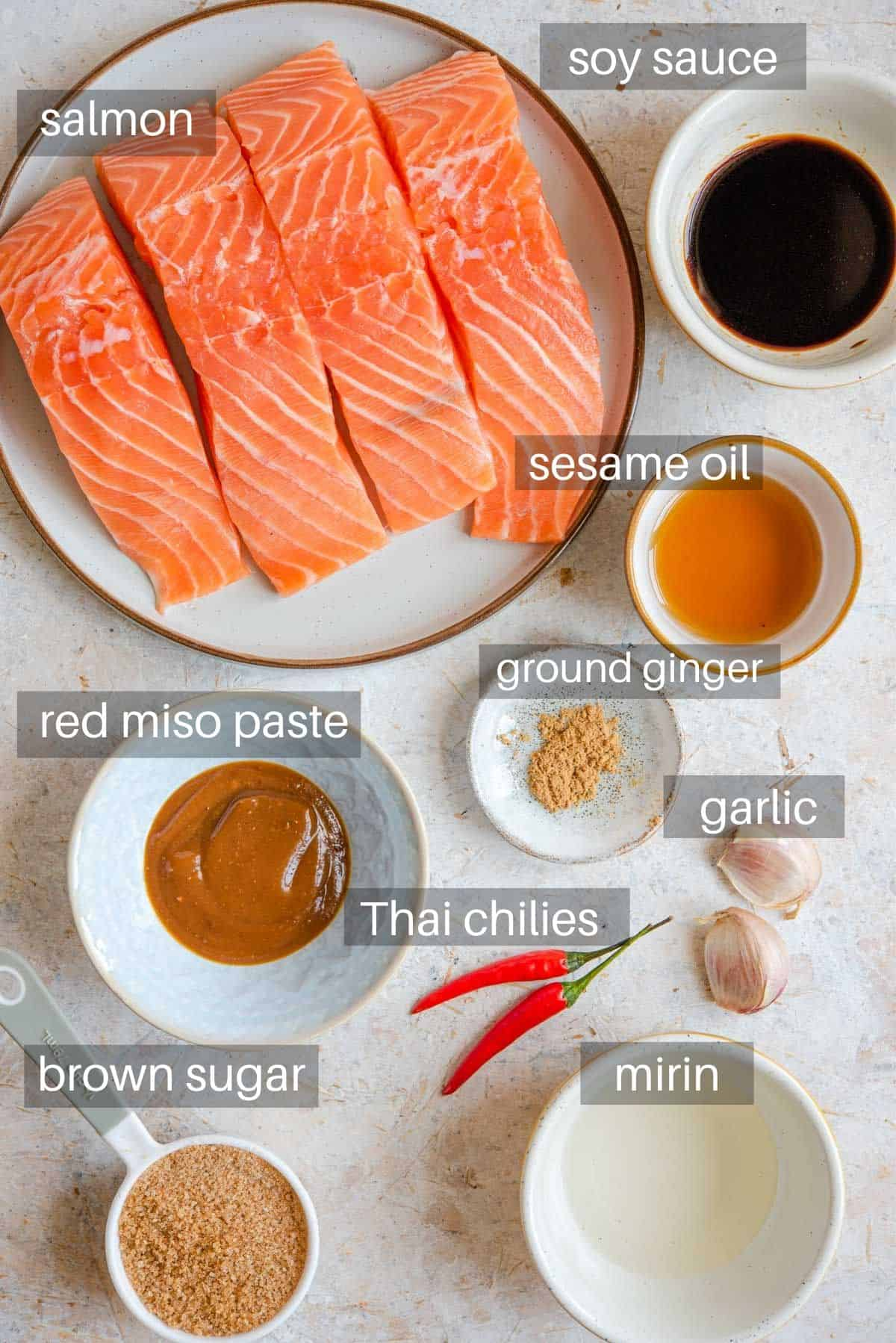 A photo showing all the ingredients you need to make glazed salmon