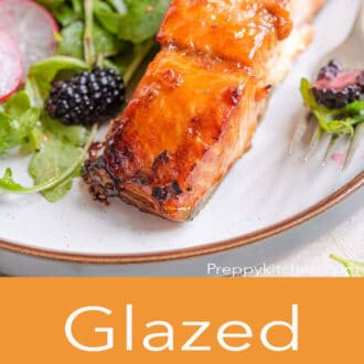A pinterest graphic showing a close up of salmon on a plate and glazed salmon written underneath
