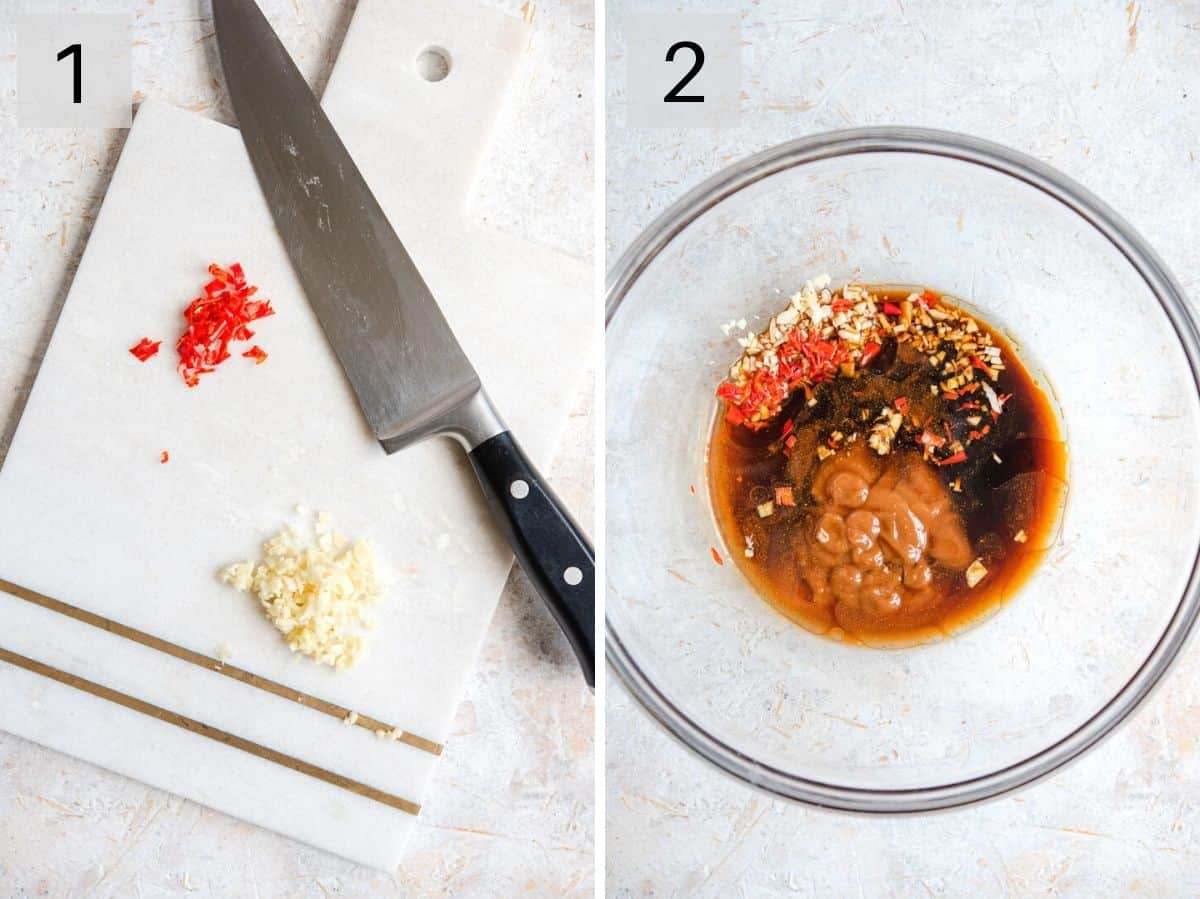 Two photos showing how to prepare ingredients for a salmon marinade