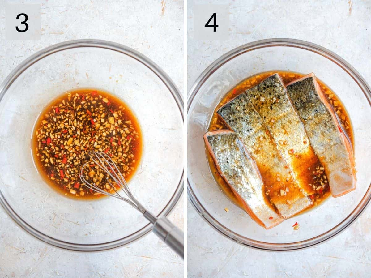 Two photos showing how to mix a marinade and how to marinate salmon