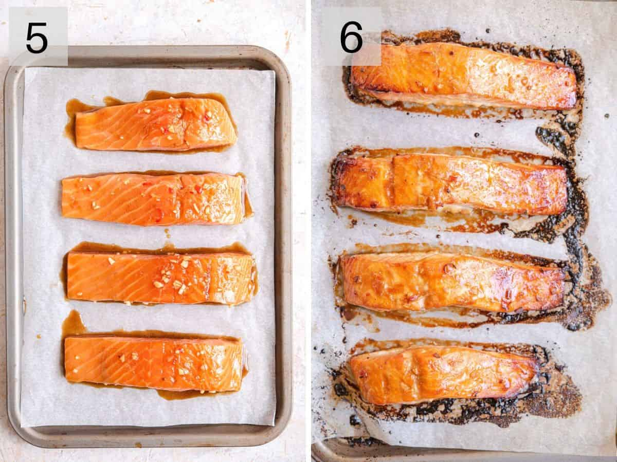 Two photos showing glazed salmon before and after cooking