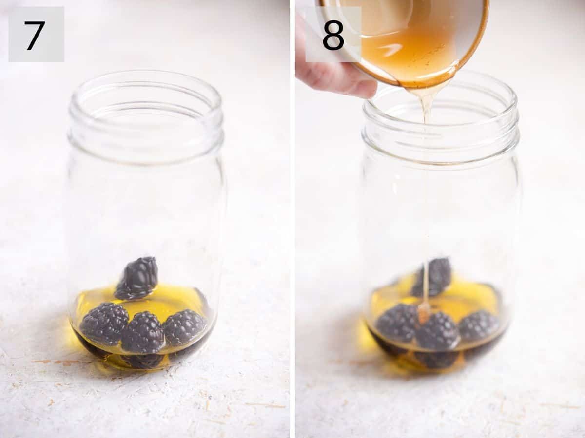 Two photos showing how to add ingredients to a mason jar to make a dressing