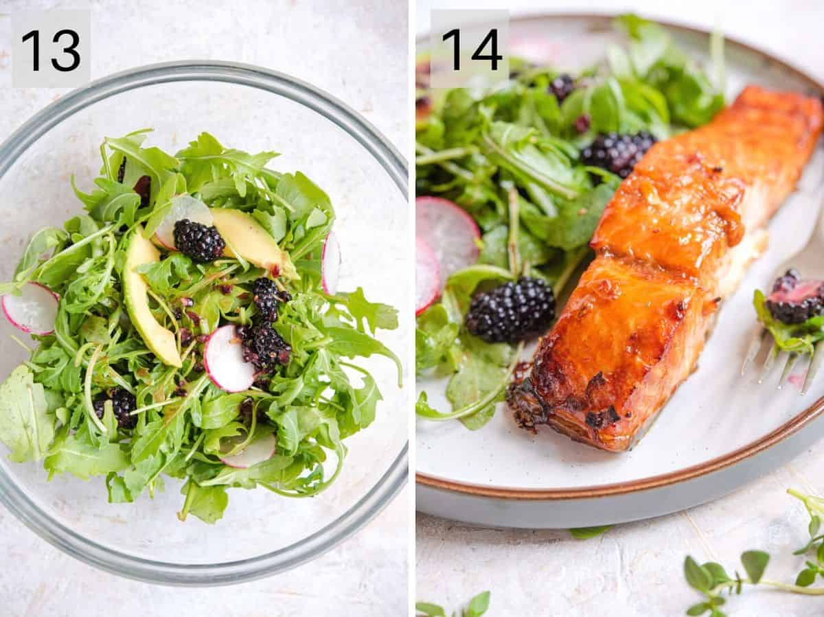 Two photos showing how to toss a side salad and served up glazed salmon