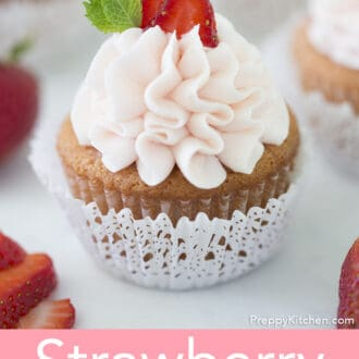 A pink Strawberry cupcake.