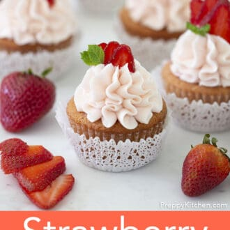 A group of Strawberry cupcakes.