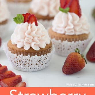 Two Strawberry cupcakes.