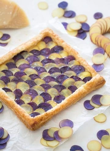 Photo of a stunning tart made from purple and white potatoes