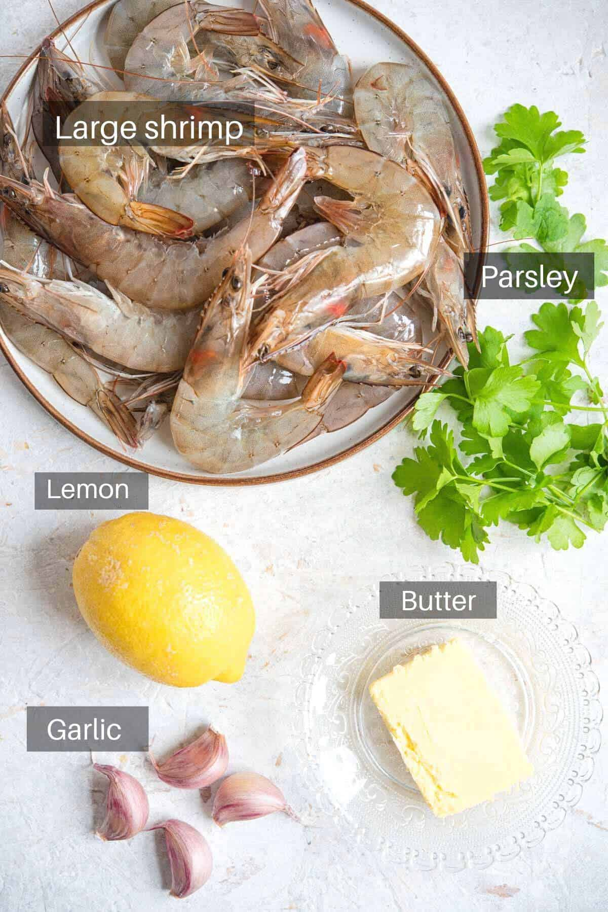 An overhead shot of all the ingredients you need to make sauteed shrimp