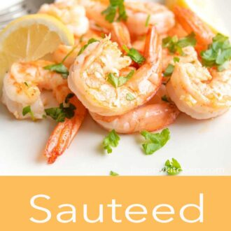 A pinterest graphic for sauteed shrimp