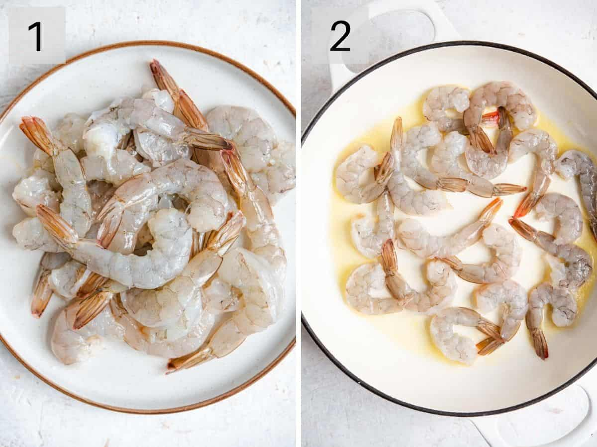 Two photos showing deveined shrimp and how they look before being cooked