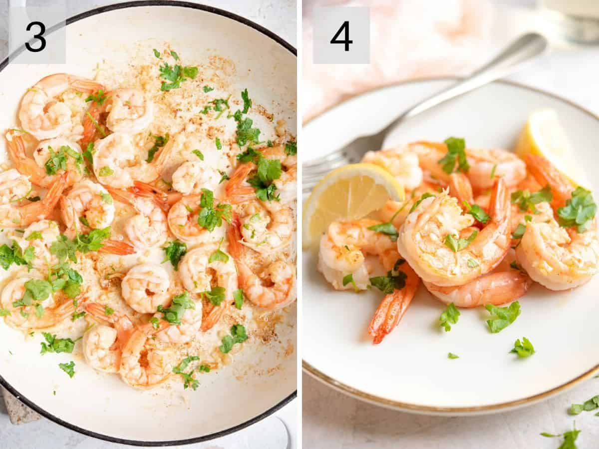 Two photos showing what cooked sauteed shrimp look like