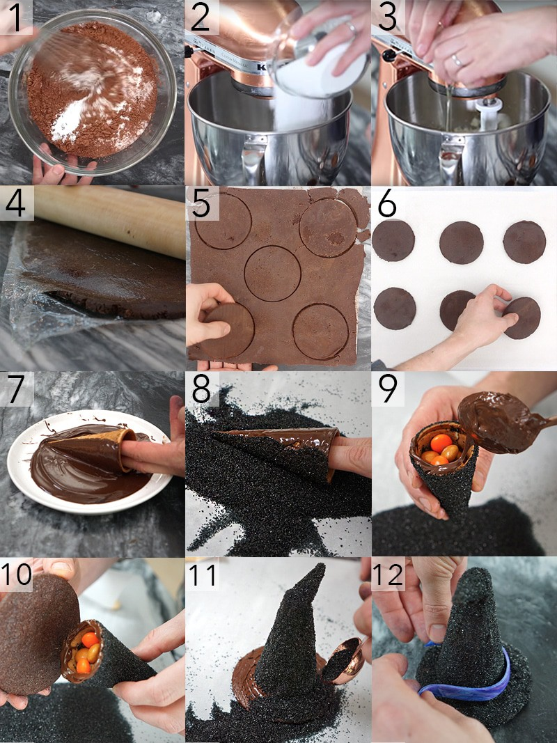 A photo showing steps on how to make a witch hat cookie with candy inside.