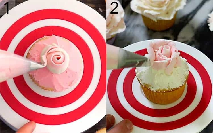 Two photos showing a buttercream rose being piped onto a cupcake.