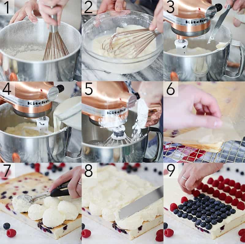 A photo collage showing steps to make an American flag cake.