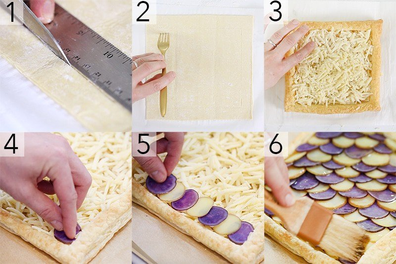 A photo collage showing the steps to make a Potato Tart
