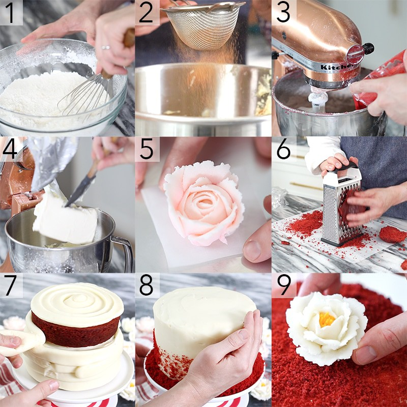 Photo collage showing steps to make a Red Velvet cake
