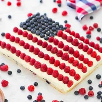 American Flag Cake made with blueberries and raspberries