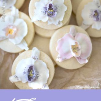 Cookies with purple and pink buttercream orchids