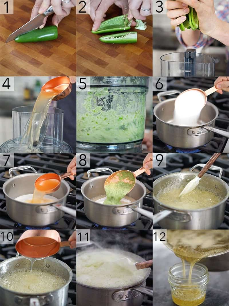 A photo grid showing steps to make jalapeño Jelly
