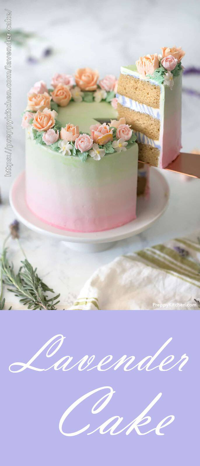 A pink to green ombre cake with orange and pink flowers and a piece out