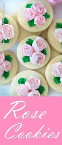Sugar cookies with pink buttercream and green leaves