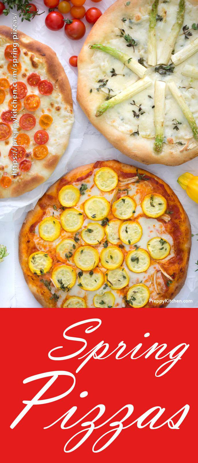 Pizzas with squash, asparagus and tomatoes