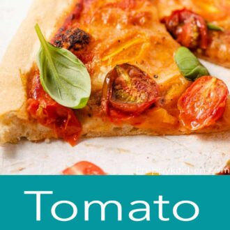 A pinterest graphic of a tomato pizza with cherry tomatoes