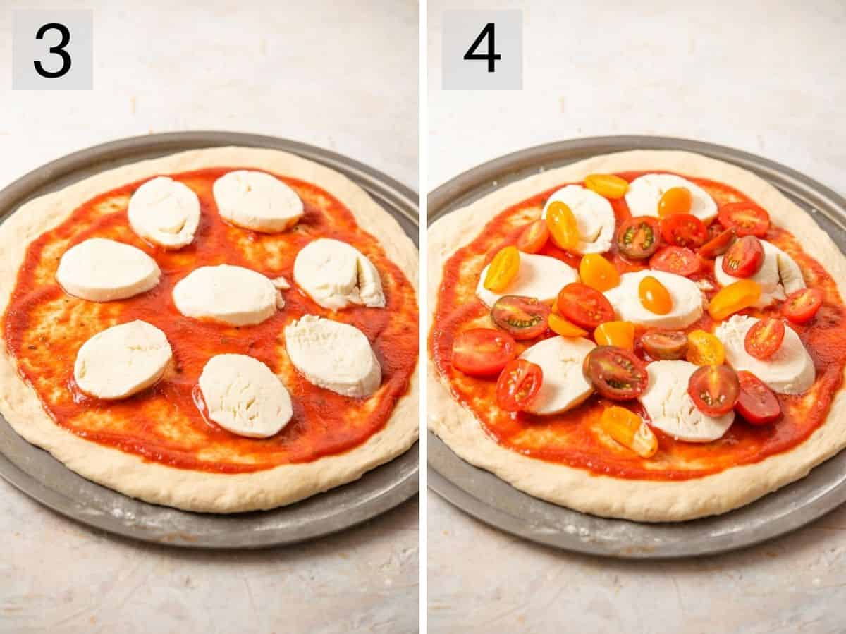 Two photos showing how to top a pizza with mozzarella and fresh tomatoes