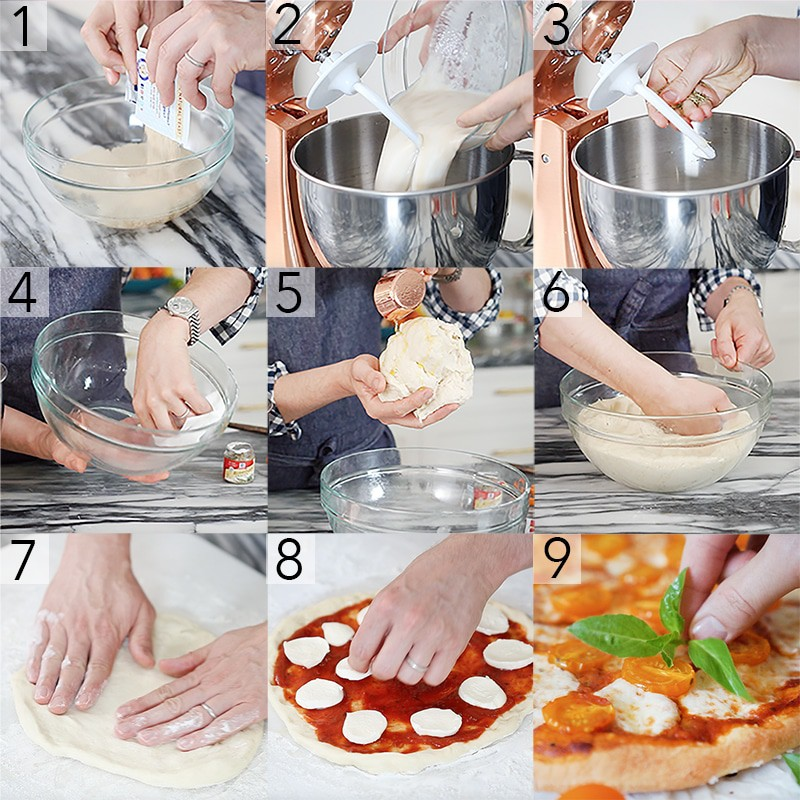 A photo collage showing steps to make a tomato pizza