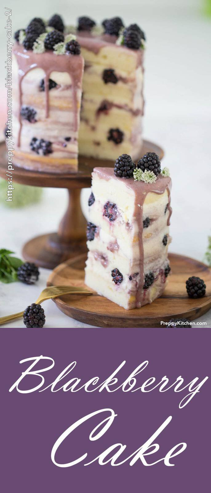 A piece of cake with fresh blackberries, mascarpone buttercream and flowers