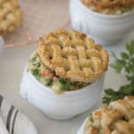 Photo of chicken pot pie with a lattice top made of pastry