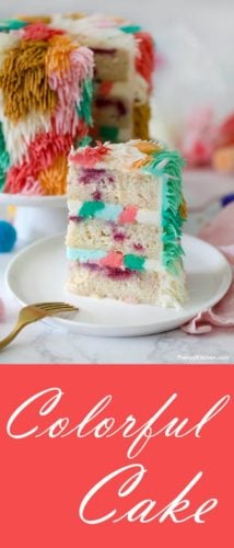 A photo of a colorful piece of cake.