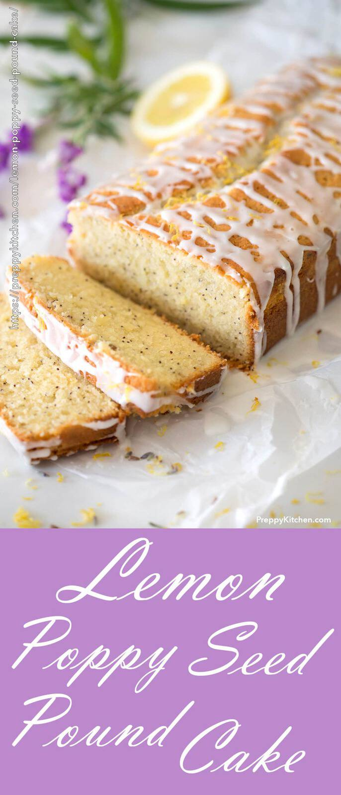 A cut lemon pound cake with white icing and lemons in the background
