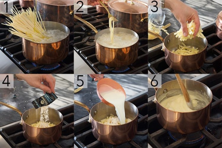 A photo showing steps on how to make Alfredo pasta.