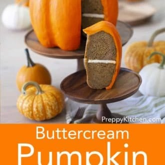 pumpkin bundt cake decorated to look like an actual pumpkin
