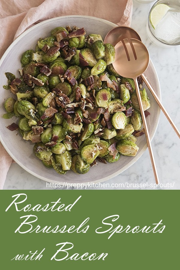 These brussels sprouts are little flavor bombs! Roasted with bacon, candied pecans and a nice drizzle of balsamic vinegar, they're just about perfect! The sprouts have a wonderful peccant almost mustardy taste on their own and are just amazing with a little help from some sweet, salty, crunchy friends.