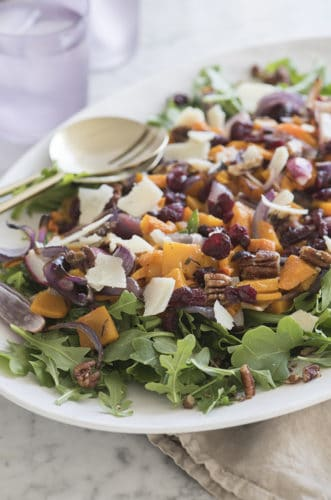 Roasted Vegetable Salad with Cranberries and Pecans
