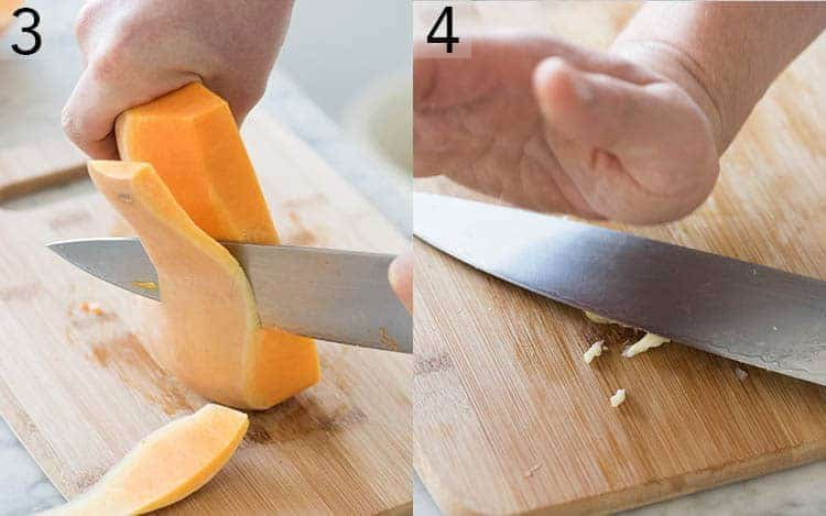 Two photos showing butternut squash being peeled and garlic getting smashed.