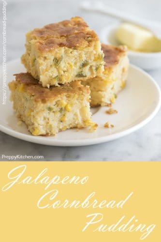 photo of jalapeño cornbread pudding squares on a white place