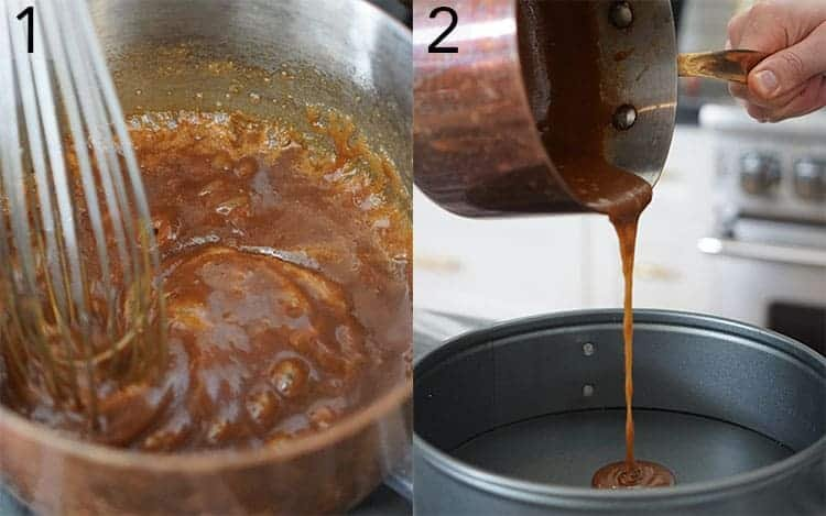 two photos showing caramel being made and poured into a pan