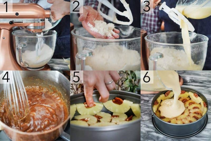 A photo showing steps on how to make a pineapple upside down cake.
