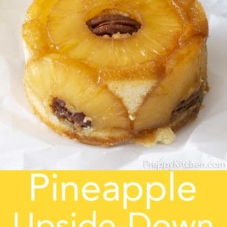 pineapple upside down cake on parchment paper