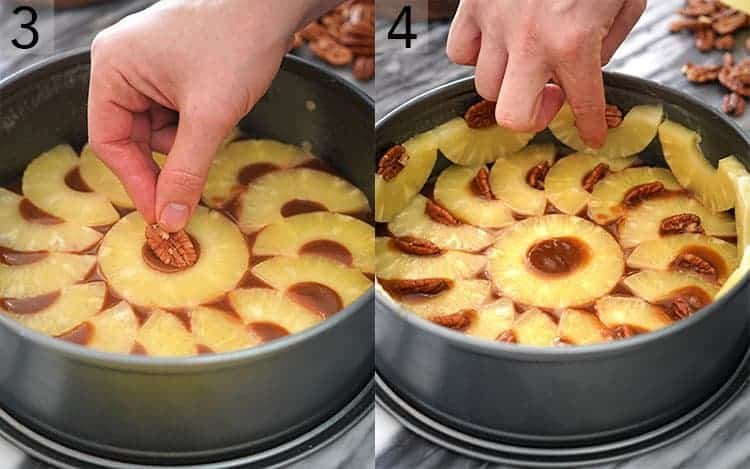 two photos showing pineapples and pecans getting arranged in a cake pan